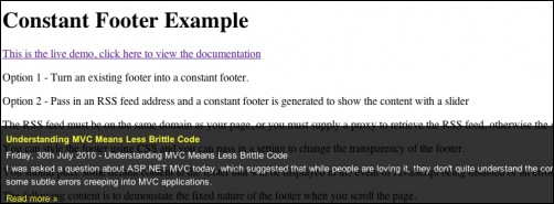 jQuery Constant Footer