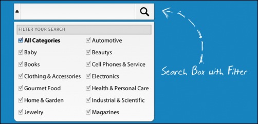 UI Elements: Search Box with Filter and Large Drop Down Menu