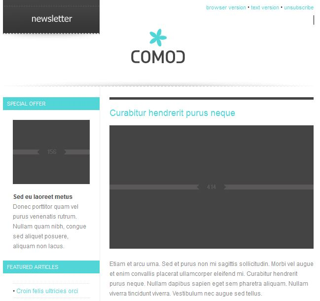 comod newsletter design