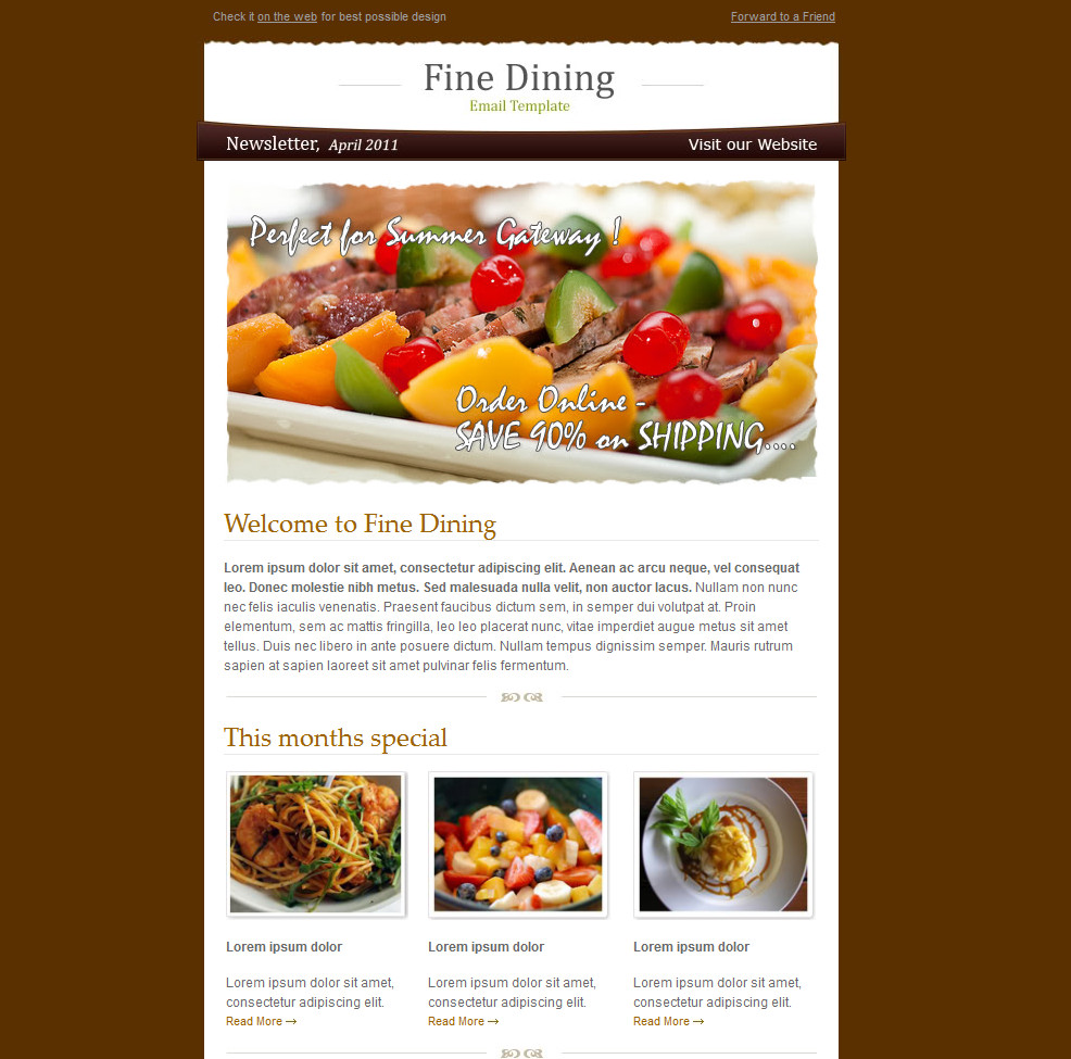 fine dinning newsletter design