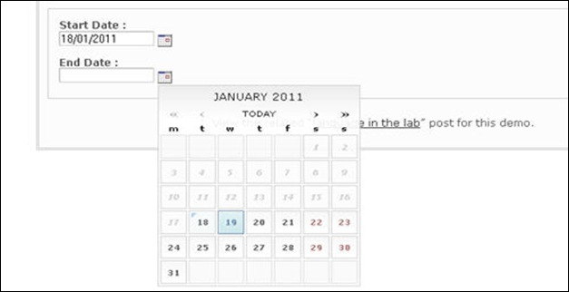 unobtrusive date picker
