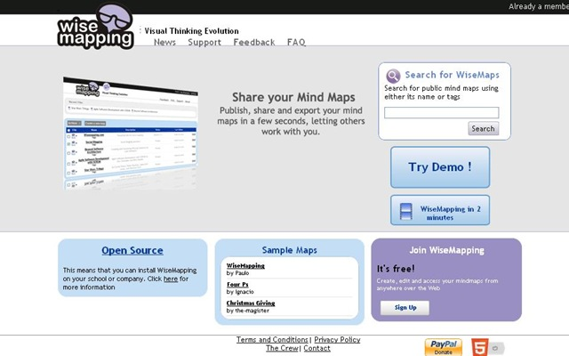 wisemapping is a free online mindmapping and collaboration tool which helps in creating mind maps online invite friends as contributors save maps as pdf - Making Mind Maps Online