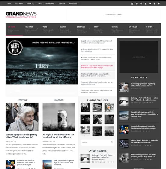 GrandNews is a cool responsive theme for building a news website with user ratings