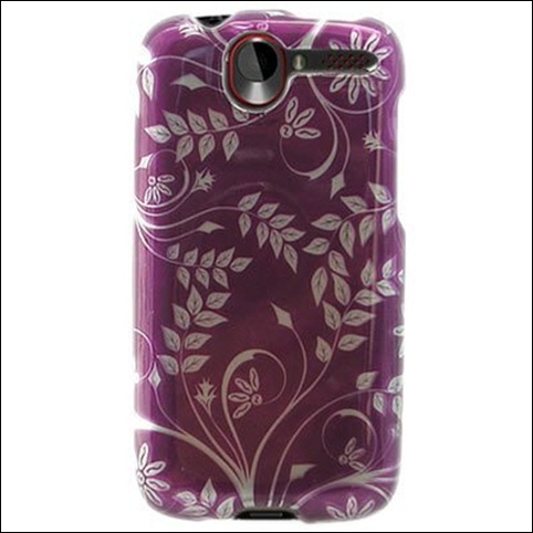 Hard Snap-on Sleeve Plastic With PURPLE LEAVES FLORAL Design Shield Faceplate Cover Case for HTC DESIRE (CDMA) [WCM72]