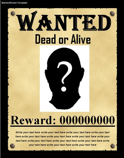 Great Free Wanted Poster Template  Most Wanted Poster Templates