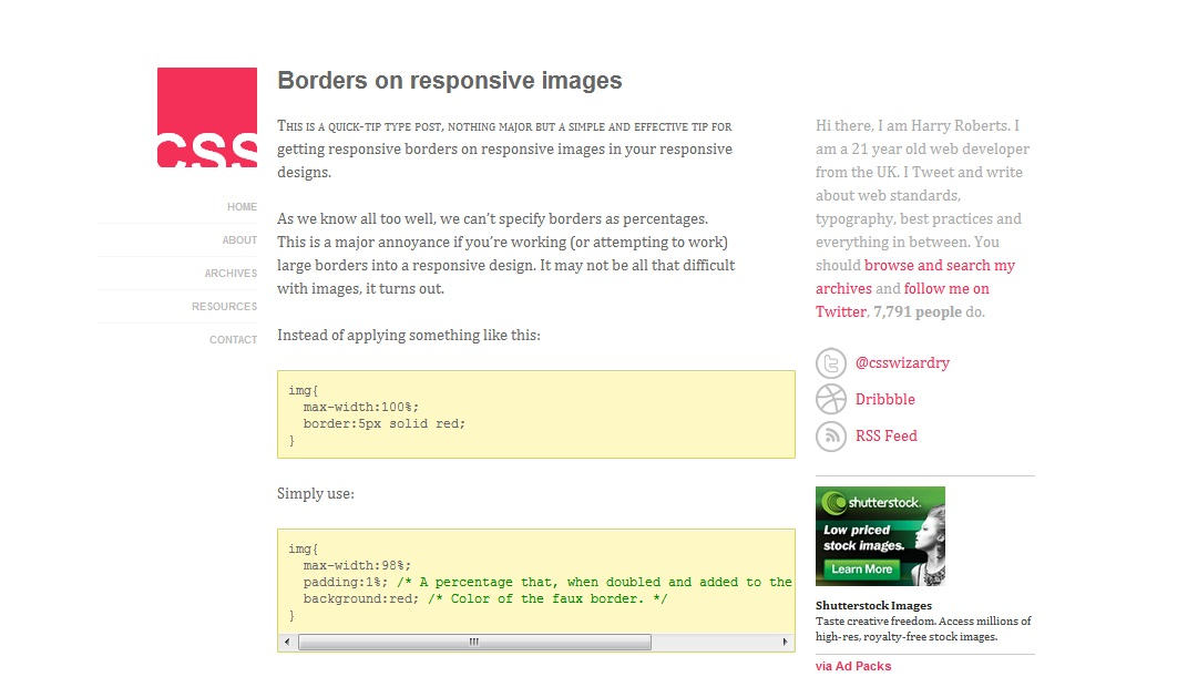 Borders on responsive images