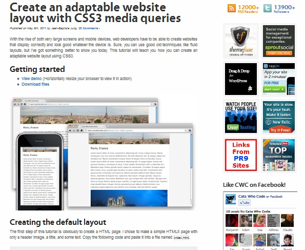 Create an adaptable website layout with CSS3 media queries