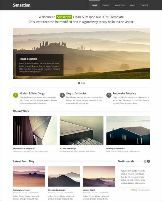 40 great responsive html website templates sensation a clean responsive html template maxwellsz