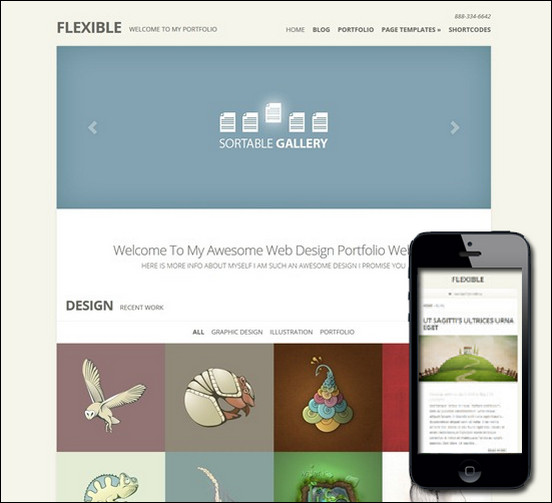 Flexible theme is responsive as well as image centered as it uses grids in displaying the images