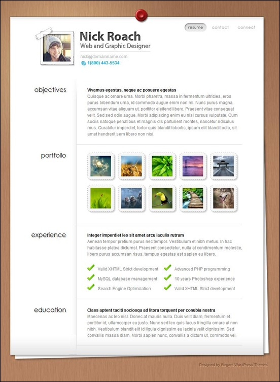 Singel page wordpress theme