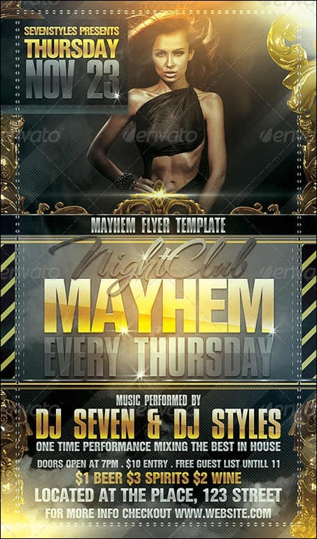 Mayhem Flyer Template. Presidental Affair Party Flyer Template