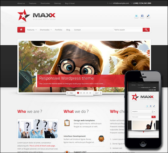 With Maxx WP you get a modern clean and creative theme with responsive layout. It is suitable for corporate business or portfolio