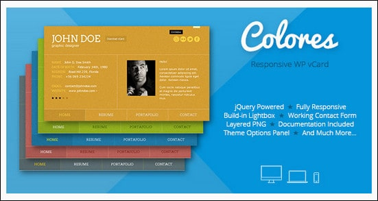Colores - Responsive WordPress vCard