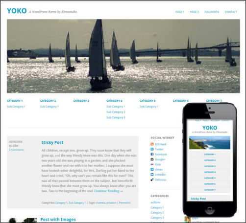 Yoko is a flexible HTML5/CSS3 WordPress theme. With the responsive layout based on CSS3 media queries, the theme adjusts to different screen sizes