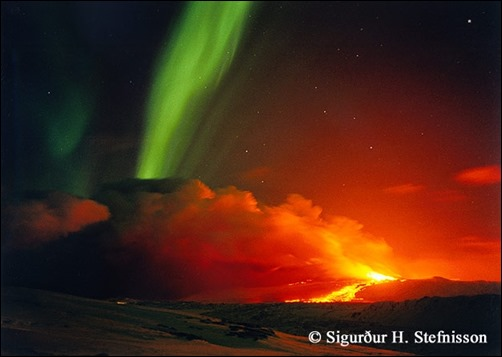 Volcano-and-Northern-Lights