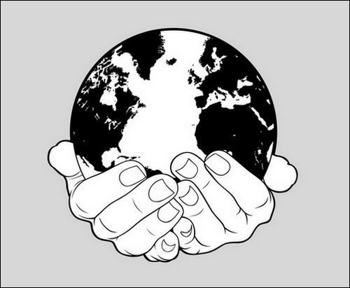 World-and-Hands-Stock-hand-vector