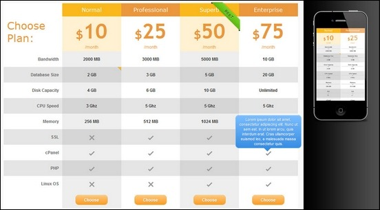 30 great ways to add a cool wordpress pricing table for Cool table css