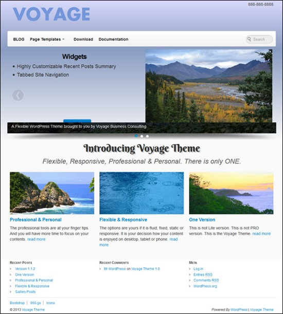 Voyage Theme is a flexible and responsive theme that combines a modified version of 960.gs Grid System and Twitter Bootstrap framework