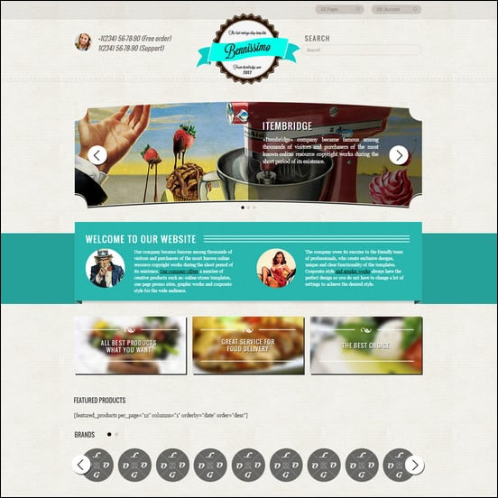 Benissimo» is the WordPress template, which is made in a vintage style