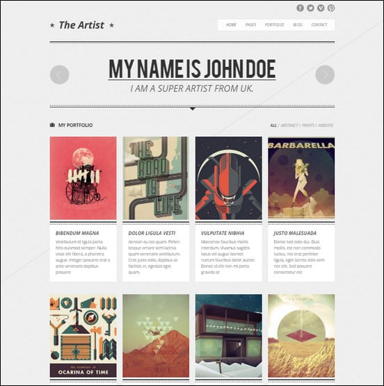 The Artist - Clean Responsive Portfolio Them