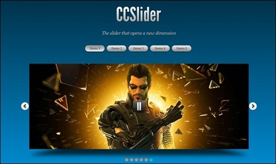 CCSlider is one of the jQuery slider plugins that have amazing 3D and 2D transition effects to really capture visitors attention