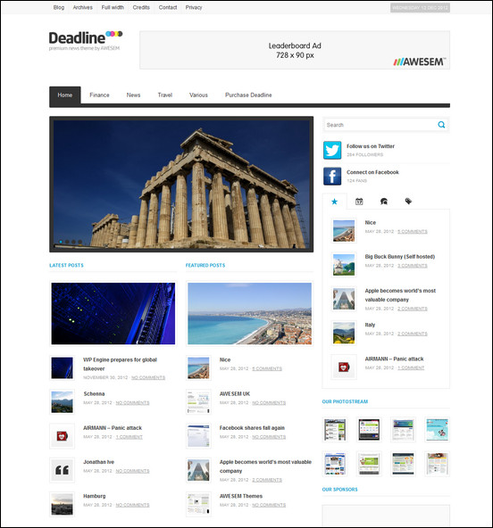 Deadline is a classic and minimalistinc WordPress news theme with a responsive layout.