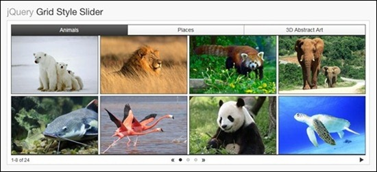 jQuery Grid Style Slider help you create grids of images that users can slide through