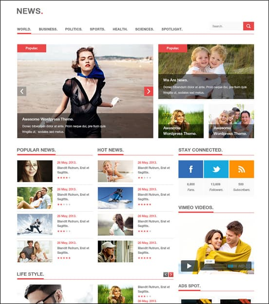 News is a unique WordPress news theme with a stunning news/magazine layout