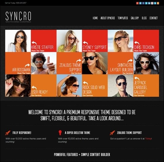 syncro is a fully responsive grid powered wordpress theme build from the popular super skeleton system