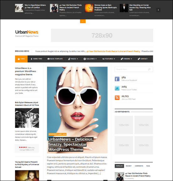 UrbanNews is a nice 3 column news Website template for WordPress. It comes with a cool news widget at the top for featuring important and trending news.