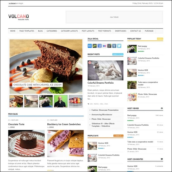 This is the Volcano news theme for WordPress. Volcano is minimalistic, fully responsive and it comes with some pretty cool widgets for featuring news
