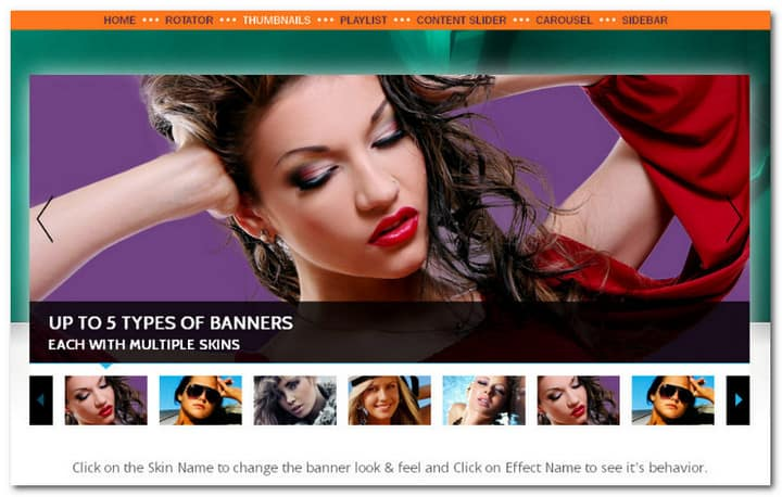 All in one banner rotator is powerful jQuery plugin that you can be configured to act as Banner Rotator, Thumbnails Banner, Banner with Playlist, Content Slider and Carousel.