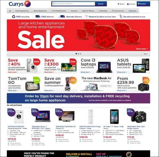 Currys is a responsive site, uses image slideshow to showcase their products