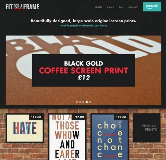 Fit for a Frame is a responsive e-commerce site