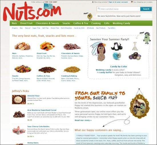 Nuts has cute deisng with nut drawings on the site
