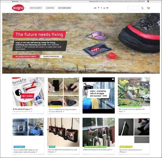 Sugru is a responsive e-comemrce site using grids to showcase products
