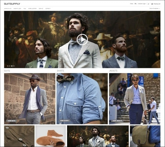 Suit Supply is a grid-based responsive e-commerce site