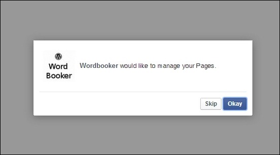 Wordbooker-Manage-Pages-Authorisation-Window