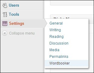 Wordbooker-in-Settings-Page
