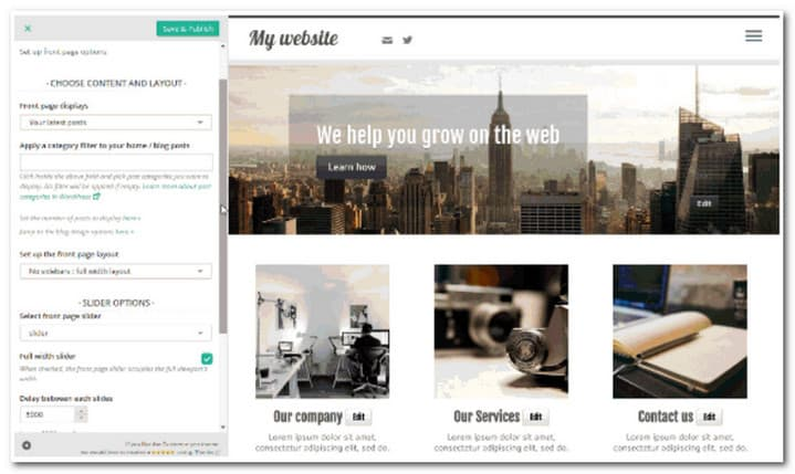 customizr homepage livwe editor