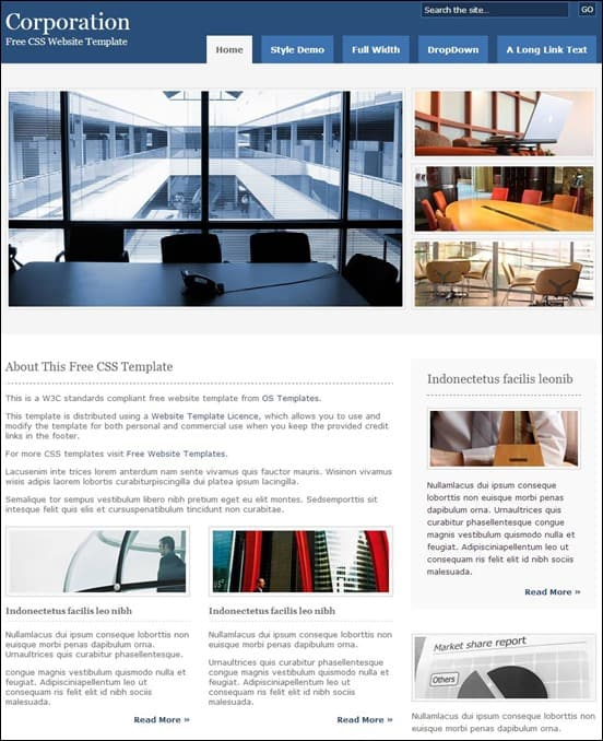 Corporation Free Website Template
