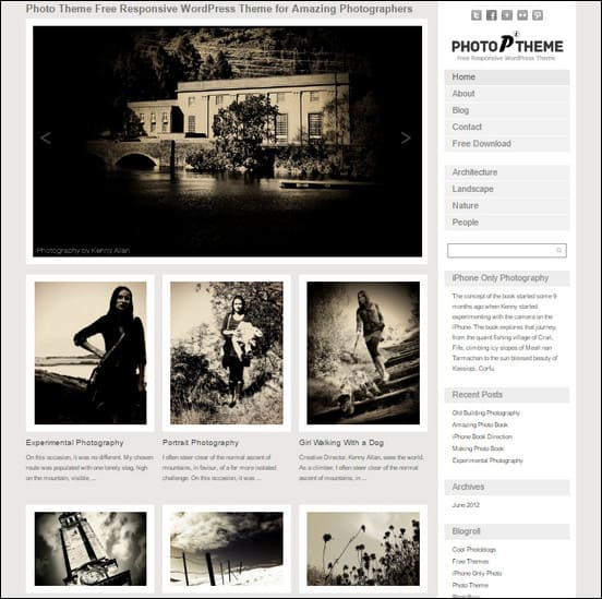 Photo Theme free theme for WordPress