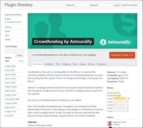Crowdfunding by Astoundify is a funding platform for WordPress.