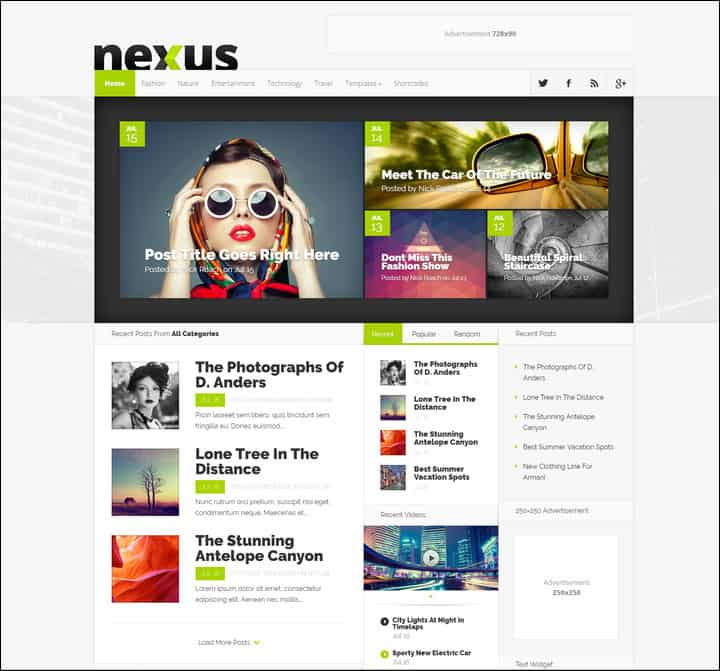 nexus magazine theme from Elegant themes