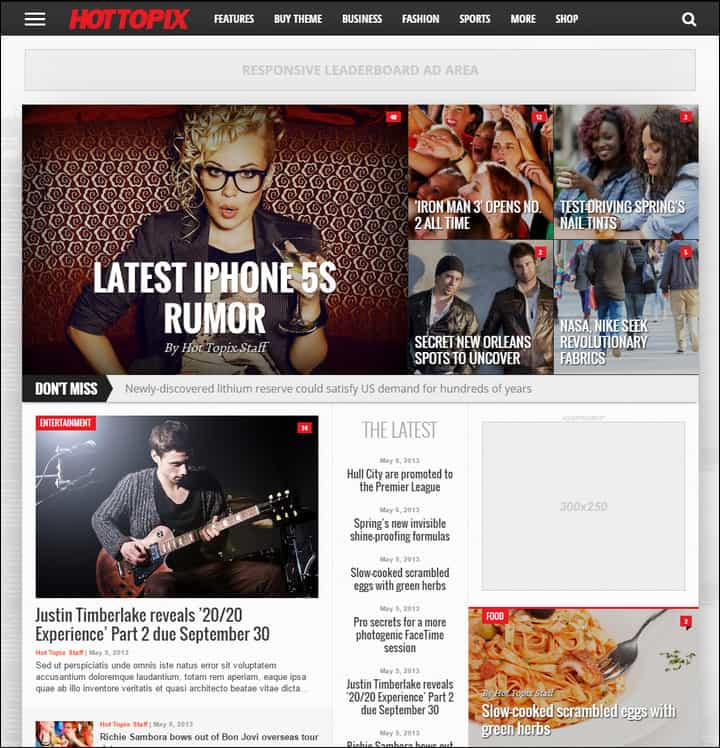 hot topix modern wordpress magazine theme