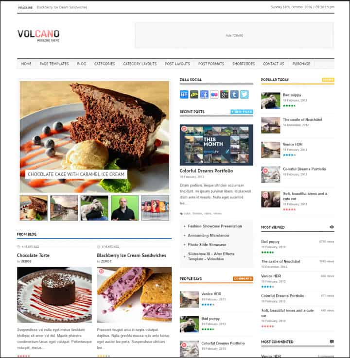 volcano theme for magazine style websites