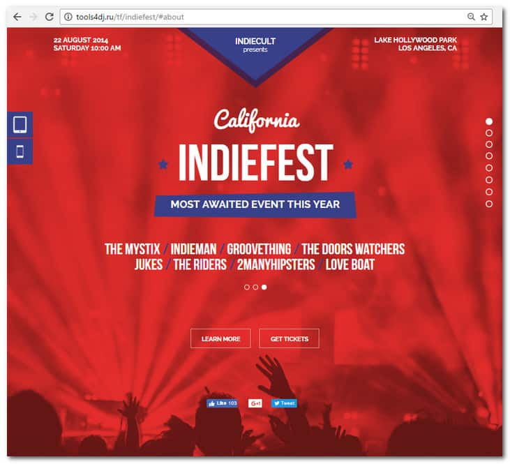 IndieFest - Music Event / Party / Festival Promo Muse Template