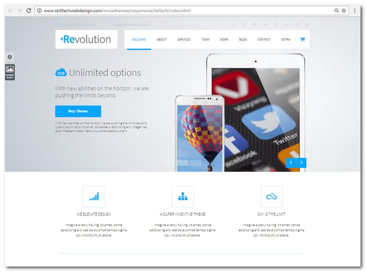 Revolution - Parallax Multipurpose Muse Template