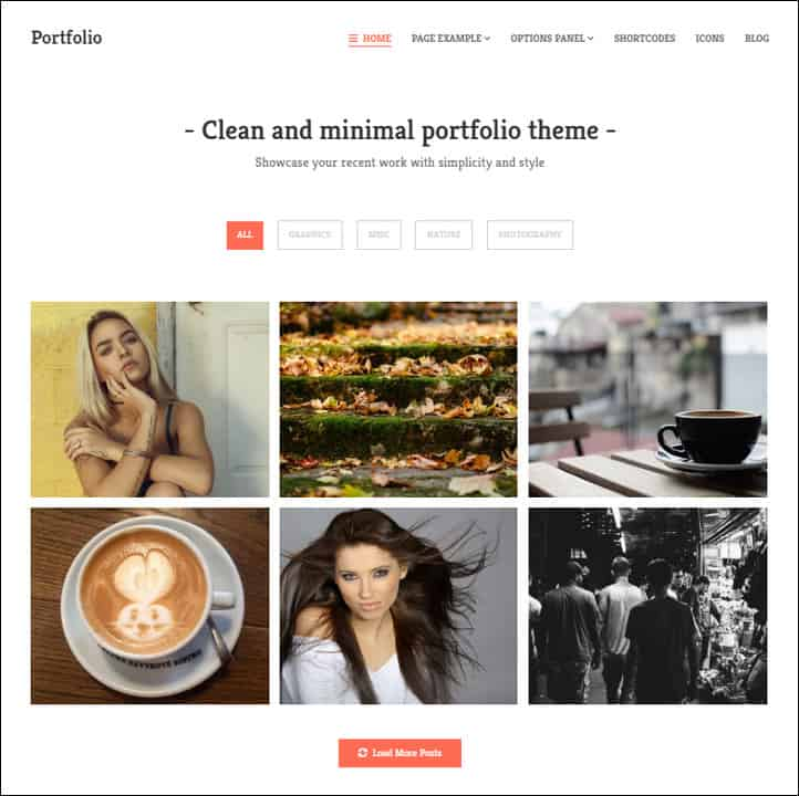 Portfolio is a minimal and clean portfolio theme for WordPress