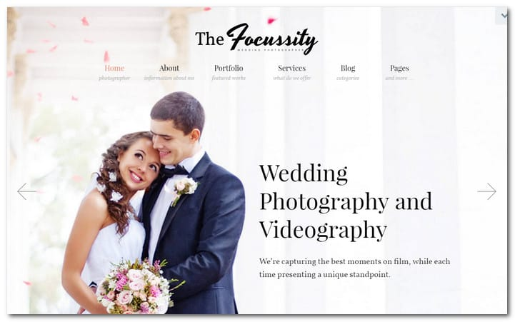 Wedding Photography/Videography WordPress Theme